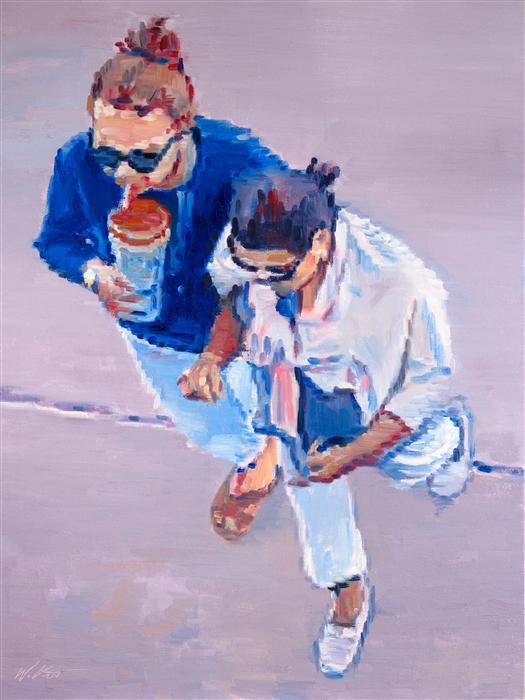 Original art for sale at UGallery.com | Two Women Walking in Santa Monica by WARREN KEATING | $1,600 | Oil painting | 24' h x 18' w | http://www.ugallery.com/oil-painting-two-women-walking-in-santa-monica