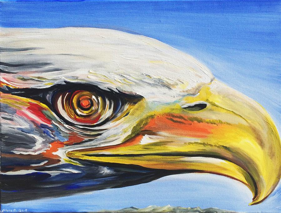 Original art for sale at UGallery.com | Eagle Eye by PIERO MANRIQUE | $575 | Acrylic painting | 16' h x 20' w | http://www.ugallery.com/acrylic-painting-eagle-eye
