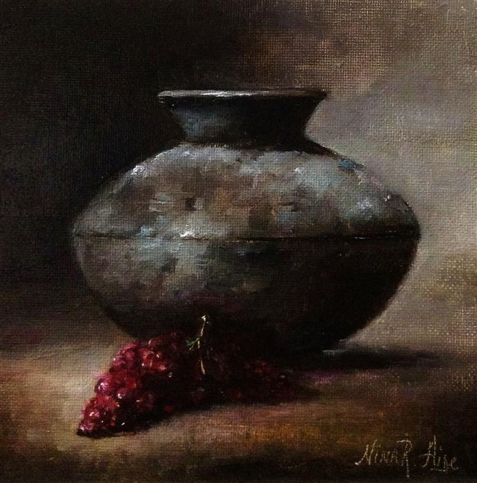Discover Original Art by Nina R Aide | Terracotta Vase and Grapes oil painting | Art for Sale Online at UGallery