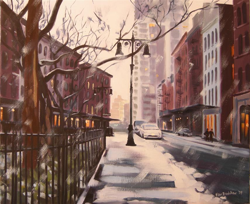 Discover Original Art by Ellen Bradshaw | Winter's Eve, Duane Park oil painting | Art for Sale Online at UGallery