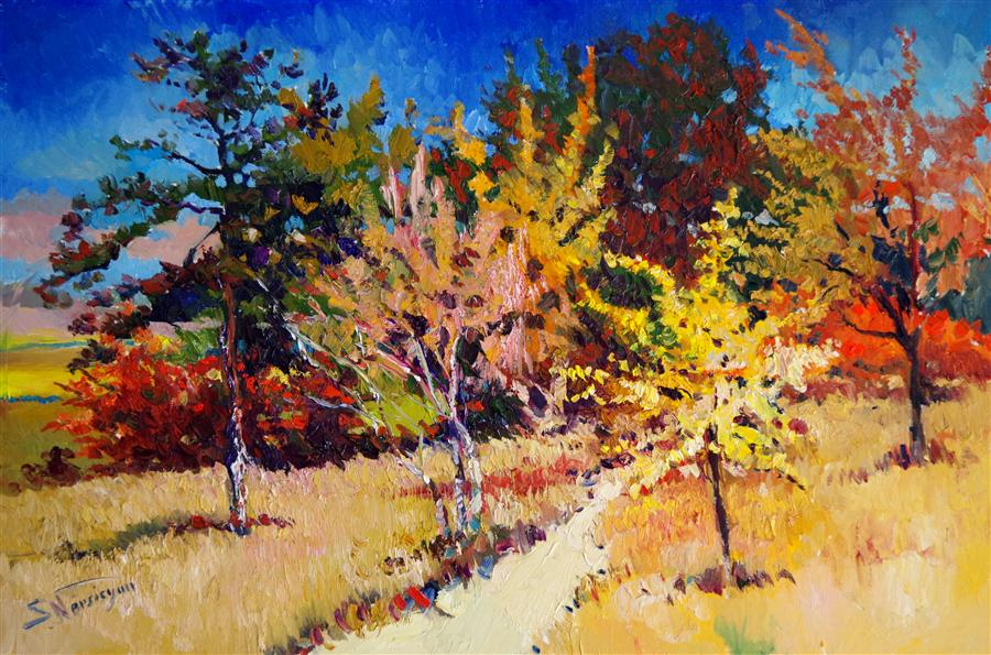 Original art for sale at UGallery.com | Fall, Midday by SUREN NERSISYAN | $1,725 | Oil painting | 24' h x 36' w | http://www.ugallery.com/oil-painting-fall-midday