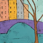 Architecture art,Minimalism art,Representational art,Modern  art,acrylic painting,Purple Bridge