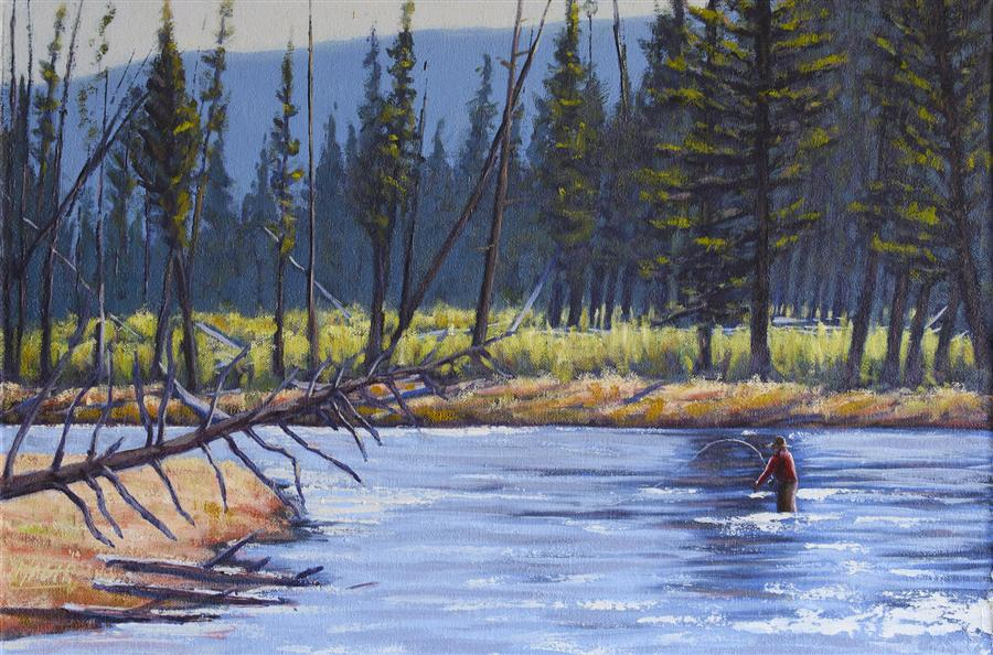 Original art by nathan hager online art for Yellowstone fly fishing