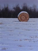 Landscape art,Classical art,Representational art,oil painting,Twilight Hayfield