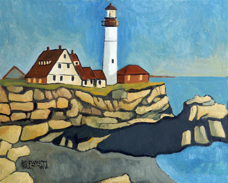 Original art for sale at UGallery.com | Maine Lighthouse by ROBERT  HOLEWINSKI | $875 | Oil painting | 16' h x 20' w | http://www.ugallery.com/oil-painting-maine-lighthouse