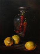 Still Life art,Classical art,Cuisine art,Realism art,oil painting,Vase, Red Peppers and Lemons
