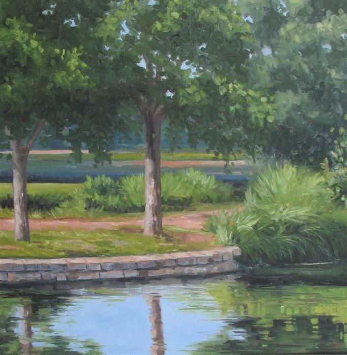 Original art for sale at UGallery.com | Summer Morning Park by RON KENYON | $425 | Oil painting | 16' h x 16' w | http://www.ugallery.com/oil-painting-summer-morning-park
