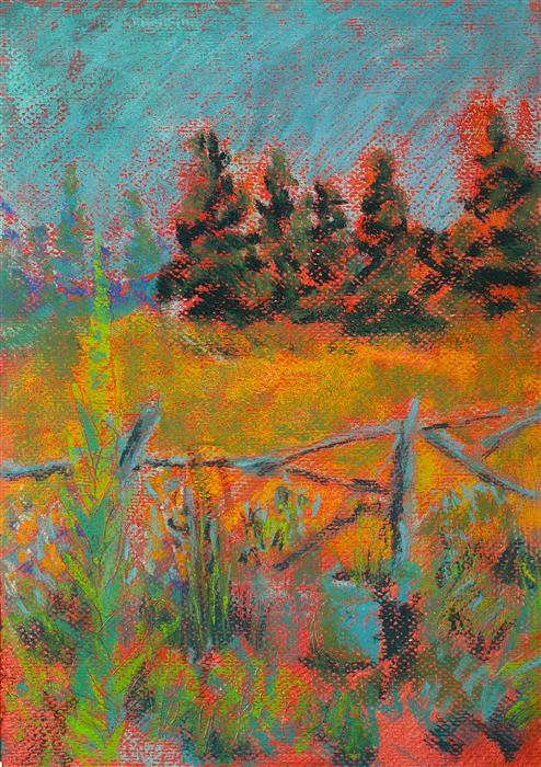 Discover Original Art by Sarah Beth Goncarova | Driftwood Fence pastel artwork | Art for Sale Online at UGallery