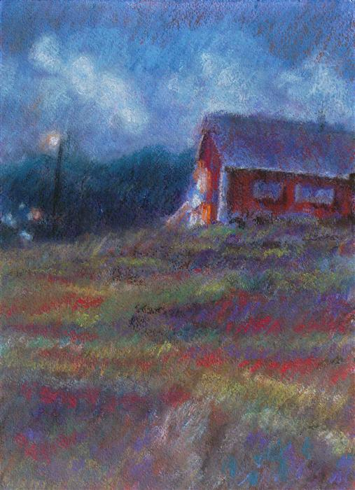 Original art for sale at UGallery.com | Red House by SARAH BETH GONCAROVA | $400 | Pastel artwork | 15' h x 11' w | http://www.ugallery.com/pastel-artwork-red-house