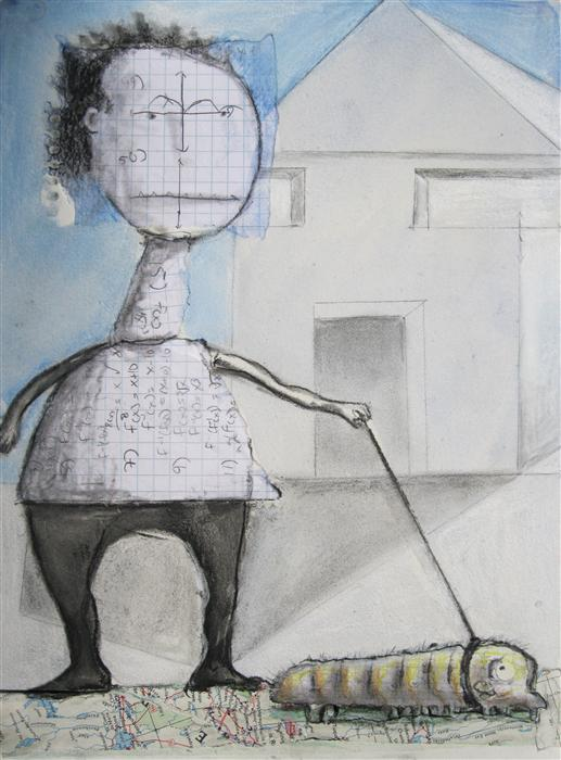 Original art for sale at UGallery.com | Walking the Inch by LIBBY RAMAGE | $400 | Mixed media artwork | 12' h x 9' w | http://www.ugallery.com/mixed-media-artwork-walking-the-inch