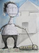 People art,Representational art,Primitive art,mixed media artwork,Walking the Inch