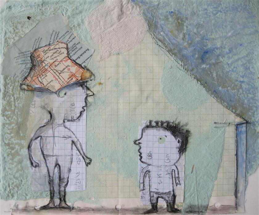 Original art for sale at UGallery.com | Camping Trip by LIBBY RAMAGE | $400 | Mixed media artwork | 9.5' h x 12.5' w | http://www.ugallery.com/mixed-media-artwork-camping-trip