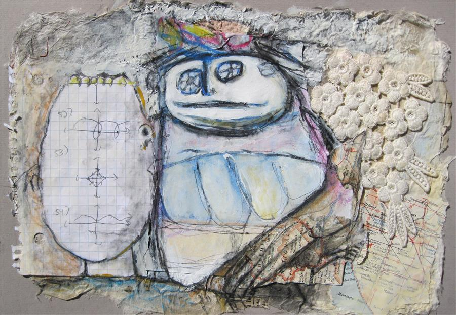 Original art for sale at UGallery.com | A Little Bird Told Me by LIBBY RAMAGE | $400 | Mixed media artwork | 9' h x 14' w | http://www.ugallery.com/mixed-media-artwork-a-little-bird-told-me