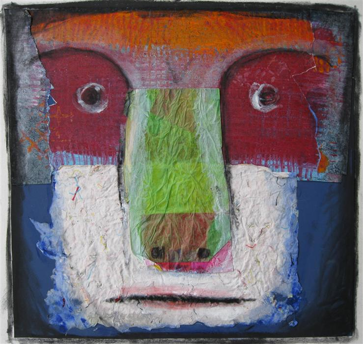 Discover Original Art by Libby Ramage | Cambell's Animal Face mixed media artwork | Art for Sale Online at UGallery