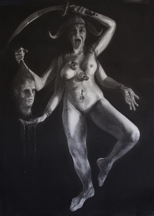 Discover Original Art by Jonathan Cole | Kali charcoal drawing | Art for Sale Online at UGallery