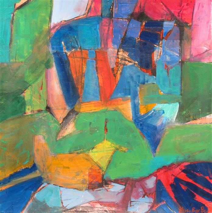 Original art for sale at UGallery.com | Abstract Figure Studio I by STEVEN PREWITT | $740 | Mixed media artwork | 22.5' h x 22.5' w | http://www.ugallery.com/mixed-media-artwork-abstract-figure-studio-i