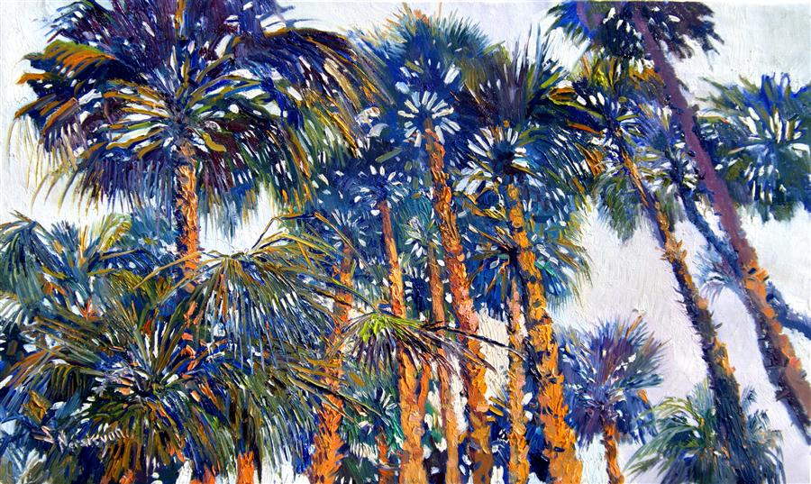 Discover Original Art by Suren Nersisyan | Under the Palms (Horizontal Composition) oil painting | Art for Sale Online at UGallery