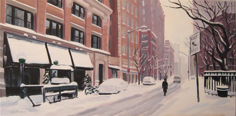 Discover Original Art by Ellen Bradshaw | A Winter's Walk, Tribeca oil painting | Art for Sale Online at UGallery