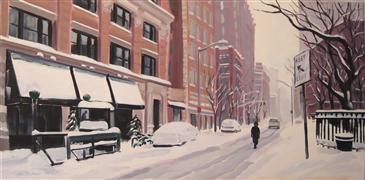Architecture art,Landscape art,Realism art,Representational art,oil painting,A Winter's Walk, Tribeca