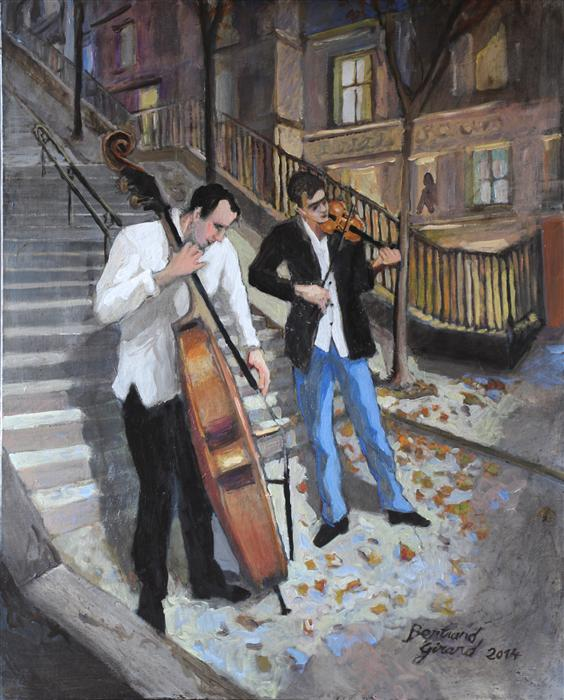 Discover Original Art by Bertrand Girard | The Musicians of Montmartre acrylic painting | Art for Sale Online at UGallery