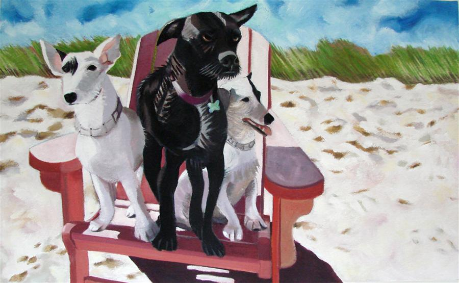 Original art for sale at UGallery.com | Buddy, Riley and Chica by HELENE ENGLISH | $1,600 | Oil painting | 16' h x 26' w | http://www.ugallery.com/oil-painting-buddy-riley-and-chica