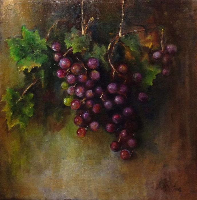 Original art for sale at UGallery.com | Grapes on Vine by NINA R AIDE | $550 | Oil painting | 12' h x 12' w | http://www.ugallery.com/oil-painting-grapes-on-vine