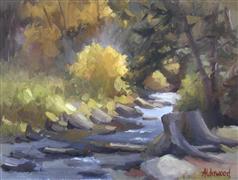 Impressionism art,Landscape art,Representational art,oil painting,Mountain Stream in Autumn