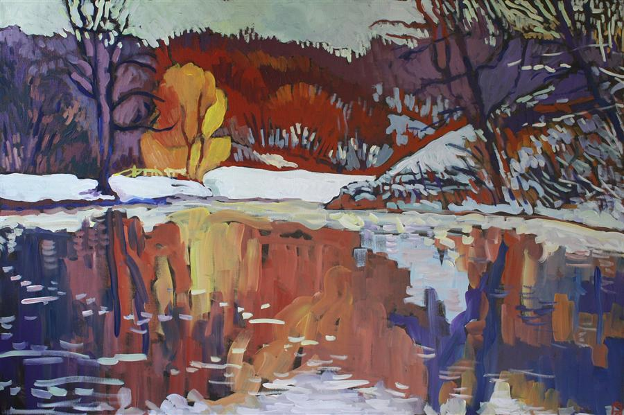 Original art for sale at UGallery.com | Arrival of Winter by ROBERT HOFHERR | $1,050 | Acrylic painting | 24' h x 36' w | http://www.ugallery.com/acrylic-painting-arrival-of-winter