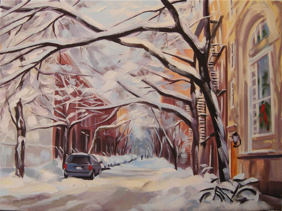 Discover Original Art by Ellen Bradshaw | Christmas Snow, Jane St oil painting | Art for Sale Online at UGallery