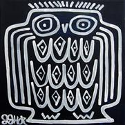 Discover Original Art by Jessica JH Roller | Owl on Dark Blue acrylic painting | Art for Sale Online at UGallery