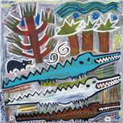 Expressionism art,Animals art,Representational art,Primitive art,acrylic painting,Alligator Crossing