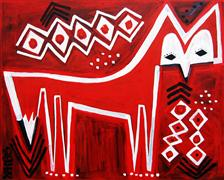 Original art for sale at UGallery.com | Red Fox on Red by Jessica JH Roller | $475 | acrylic painting | http://www.ugallery.com/acrylic-painting-red-fox-on-red