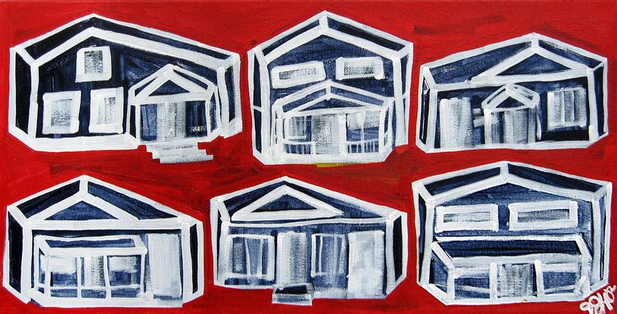 Original art for sale at UGallery.com | Houses on Red by JESSICA JH ROLLER | $375 | Acrylic painting | 10' h x 20' w | http://www.ugallery.com/acrylic-painting-houses-on-red