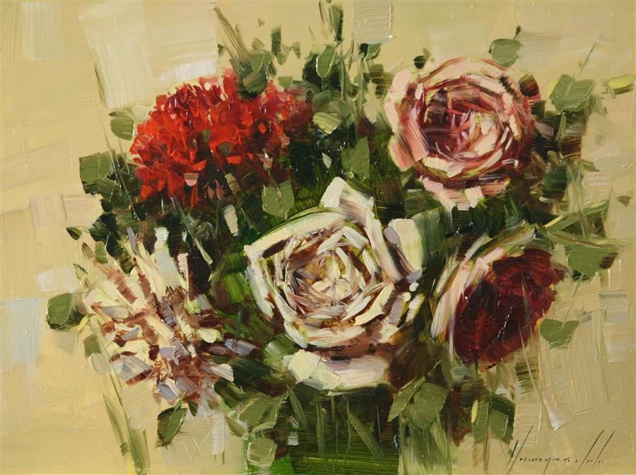 Discover Original Art by Vahe Yeremyan | Bouquet of Roses oil painting | Art for Sale Online at UGallery