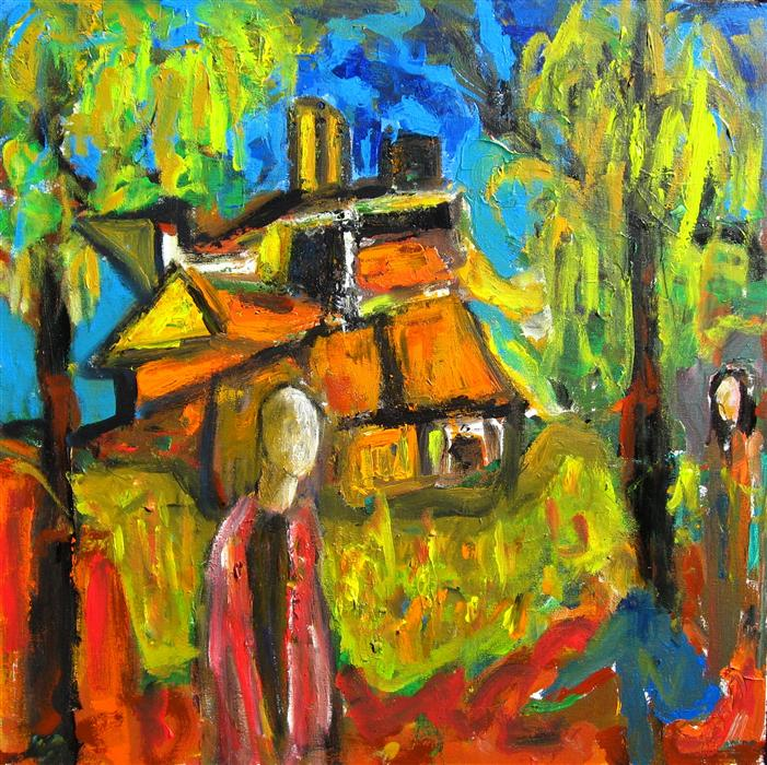Original art for sale at UGallery.com | The House in the Woods by RON KLOTCHMAN | $900 | Acrylic painting | 24' h x 24' w | http://www.ugallery.com/acrylic-painting-the-house-in-the-woods