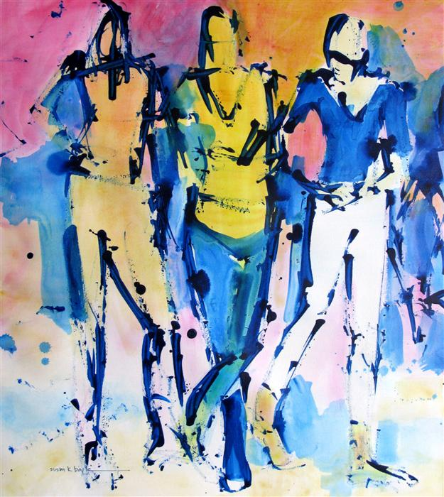 Original art for sale at UGallery.com | Line Dancing by SUSAN K BOYLE | $500 | Acrylic painting | 22' h x 20' w | http://www.ugallery.com/acrylic-painting-line-dancing