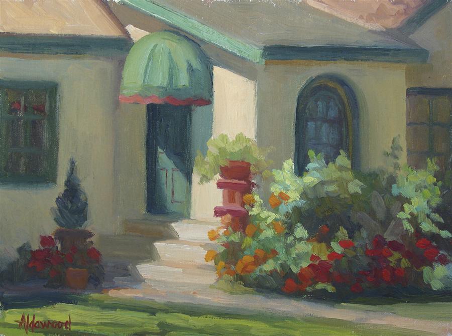 Original art for sale at UGallery.com | Green Door in Morning Light by SHERRI ALDAWOOD | $350 | Oil painting | 9' h x 12' w | http://www.ugallery.com/oil-painting-green-door-in-morning-light