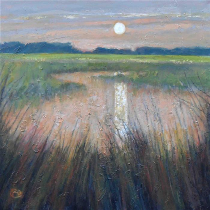Discover Original Art by Kip Decker | Moon over Marsh acrylic painting | Art for Sale Online at UGallery