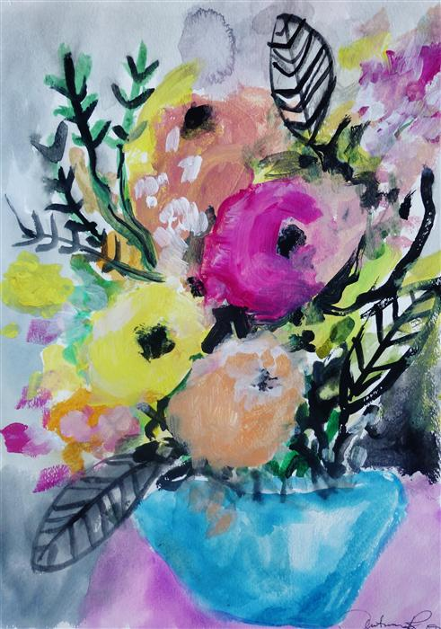 Discover Original Art by Autumn Rose | Pocket Full of Posies acrylic painting | Art for Sale Online at UGallery