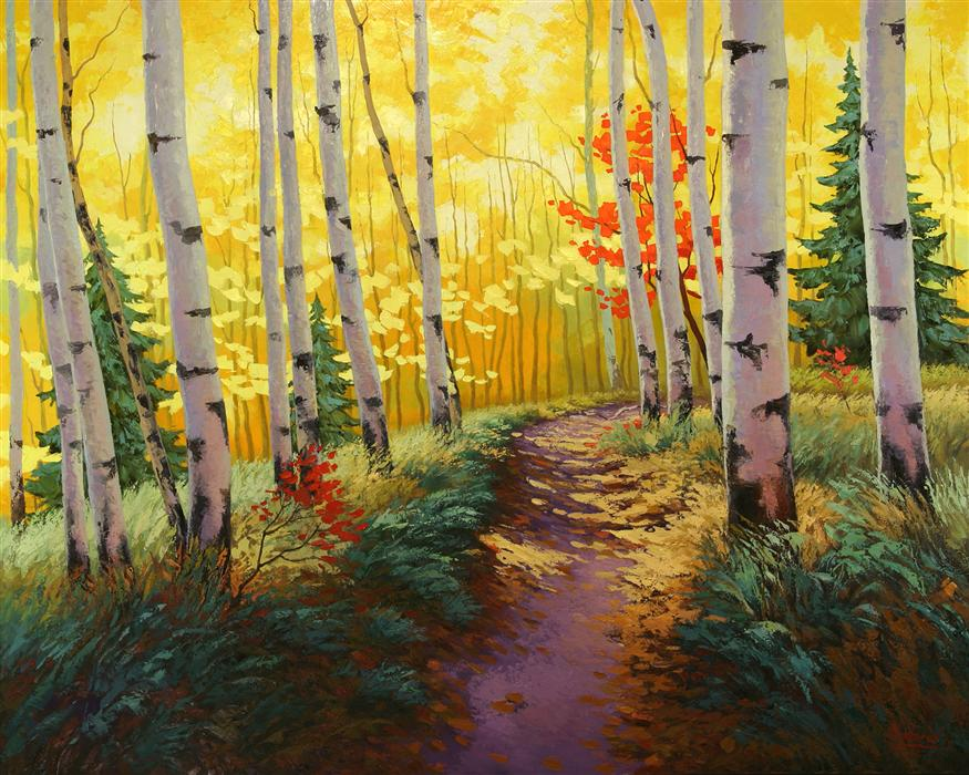 Original art for sale at UGallery.com | Autumn Pass by STANISLAV SIDOROV | $4,400 | Oil painting | 48' h x 60' w | http://www.ugallery.com/oil-painting-autumn-pass
