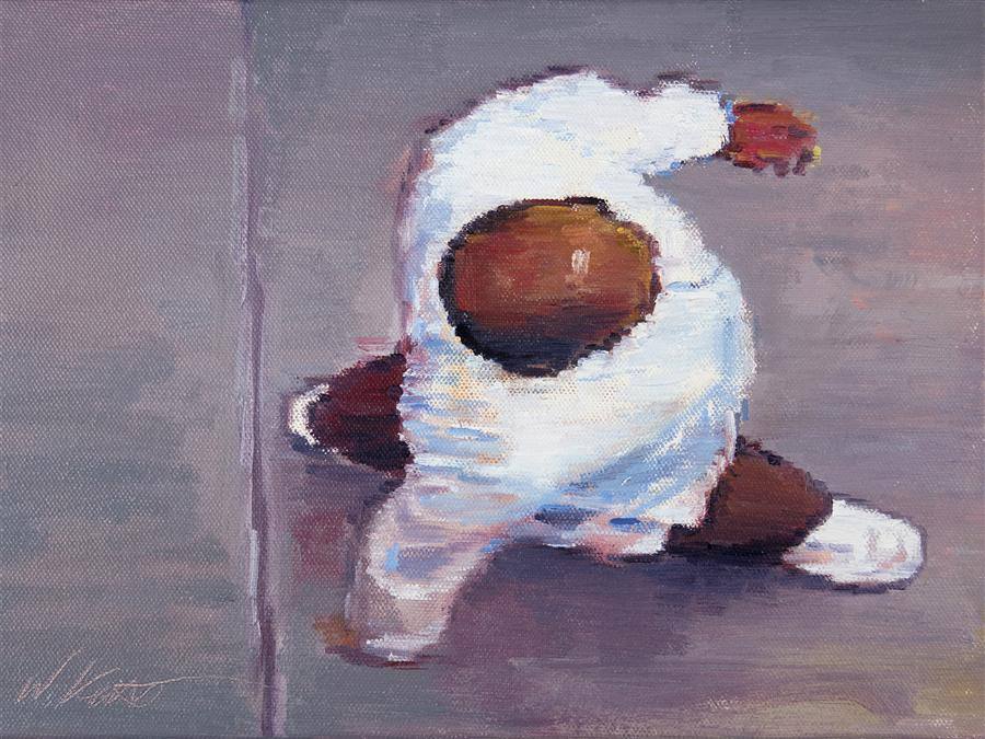 Original art for sale at UGallery.com   Man in White Shirt and Shoes in Downtown Los Angeles by WARREN KEATING   $450   Oil painting   9' h x 12' w   http://www.ugallery.com/oil-painting-man-in-white-shirt-and-shoes-in-downtown-los-angeles