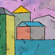 Architecture art,Non-representational art,acrylic painting,Purple Sunset