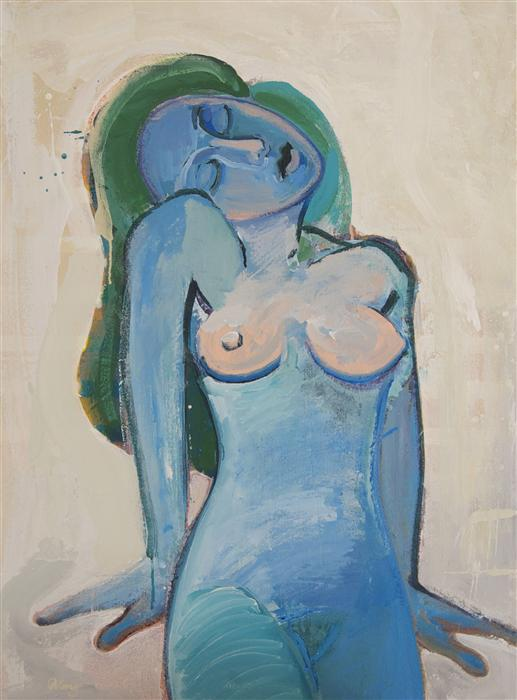 Discover Original Art by Stephen Poling | Blue Woman Resting acrylic painting | Art for Sale Online at UGallery