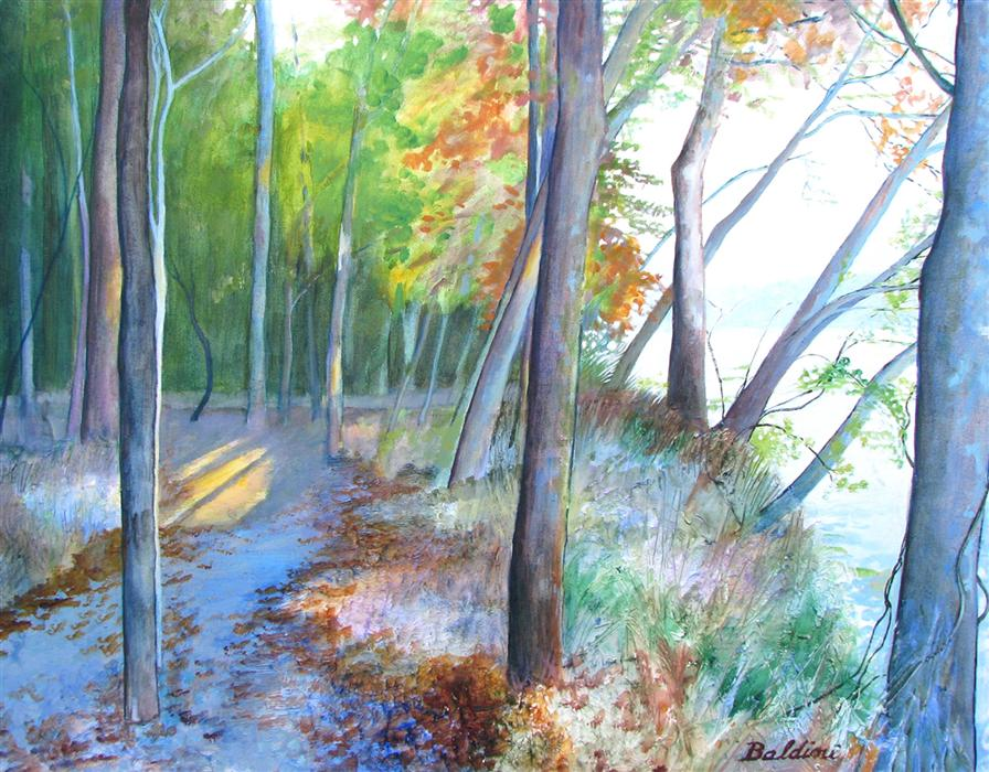 Original art for sale at UGallery.com | Path along the James by CYNTHIA BALDINI | $980 | Acrylic painting | 22' h x 28' w | http://www.ugallery.com/acrylic-painting-path-along-the-james