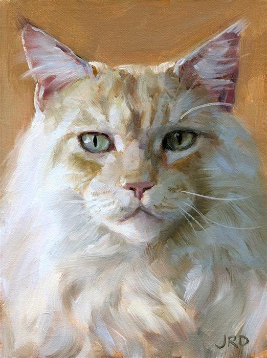 Buy original art by j dunster oil painting big white for Cat paintings on canvas