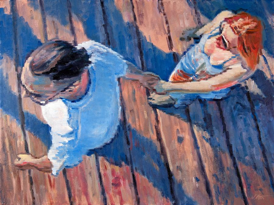Discover Original Art by Warren Keating | Aerial View of Couple Walking on the Santa Monica Pier oil painting | Art for Sale Online at UGallery