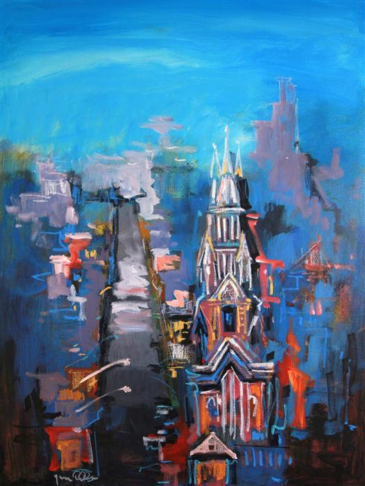 Original art for sale at UGallery.com | Cathedral Beneath a Hill 03 by YUVAK TULADHAR | $1,125 | Acrylic painting | 24' h x 32' w | http://www.ugallery.com/acrylic-painting-cathedral-beneath-a-hill-03