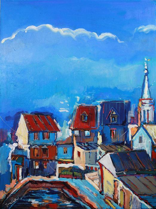 Original art for sale at UGallery.com | Houses and a Church by YUVAK TULADHAR | $1,125 | Acrylic painting | 32' h x 24' w | http://www.ugallery.com/acrylic-painting-houses-and-a-church