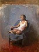 Discover Original Art by Sara Sisun | Girl in a Blue Chair oil painting | Art for Sale Online at UGallery