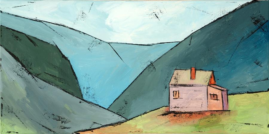 Discover Original Art by Tanya Grabkova | House in the Mountains acrylic painting | Art for Sale Online at UGallery